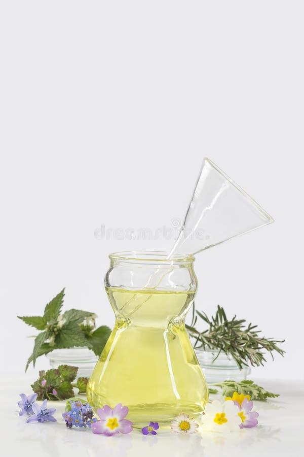 Ätherische Öle für Aromatherapiebehandlung mit frischen Kräutern lizenzfreie stockfotos