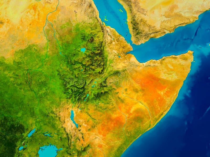 Äthiopien auf körperlicher Karte lizenzfreie abbildung