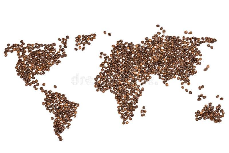 Ätlig världskarta som göras från kaffebönor arkivfoto