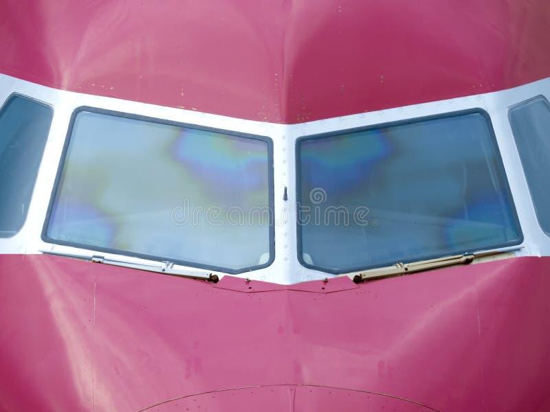Äußere Ansicht des Flugzeugcockpits stockbilder