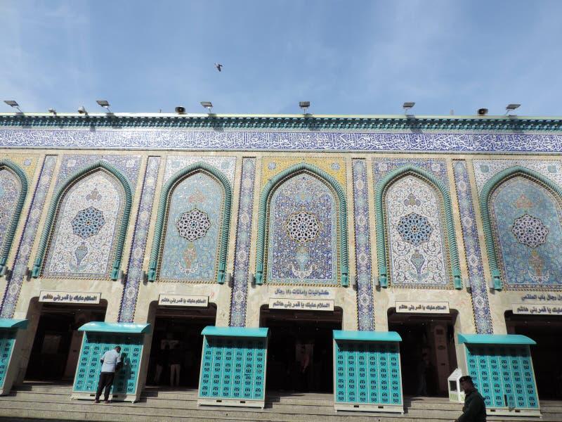 Äußere des heiligen Schreins von Abbas Ibn Ali, Kerbela, der Irak stockbilder