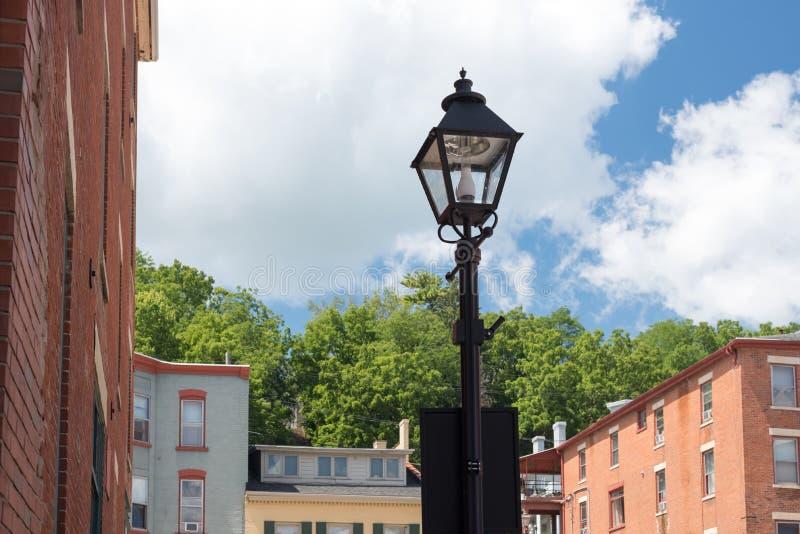 Äußere Lampe auf einer Straße von Chicago stockfoto