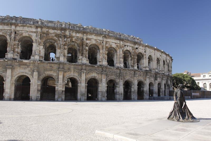 Äußeres der Arena von Nimes stockbild