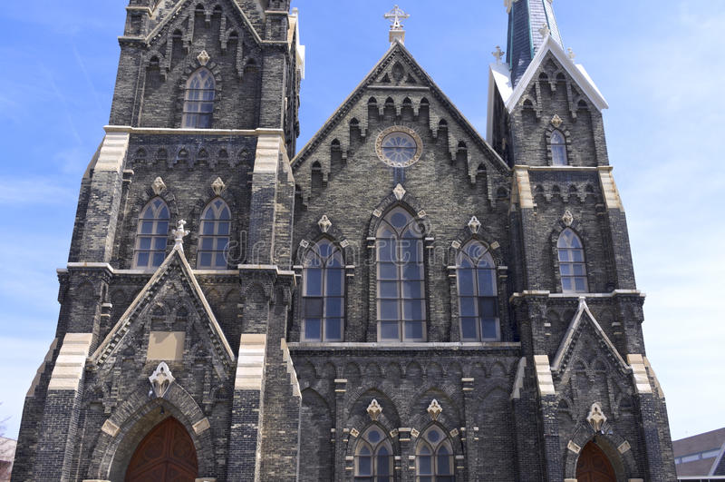 Äußeres der historischen Kirche in Milwaukee stockfotos