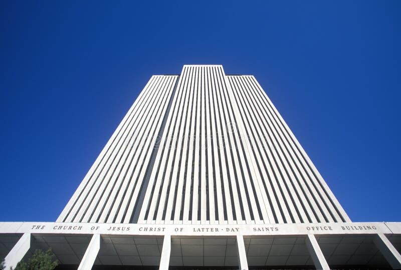 Äußeres der Kirche des letzten Tagesheilig-Tempel-Quadrats in Salt Lake City, UT lizenzfreie stockfotos