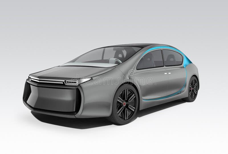 Äußeres des autonomen Elektroautos auf grauem Hintergrund lizenzfreie abbildung