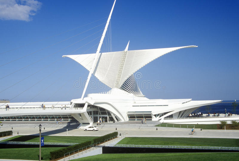 Äußeres des Milwaukee Art Museum auf Michigansee, Milwaukee, WI lizenzfreie stockfotos