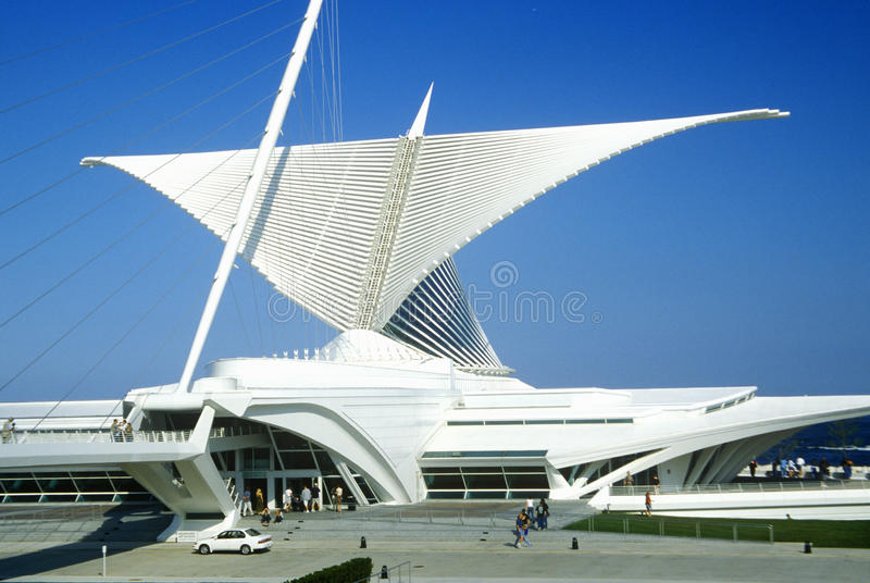 Äußeres des Milwaukee Art Museum auf Michigansee, Milwaukee, WI stockbild