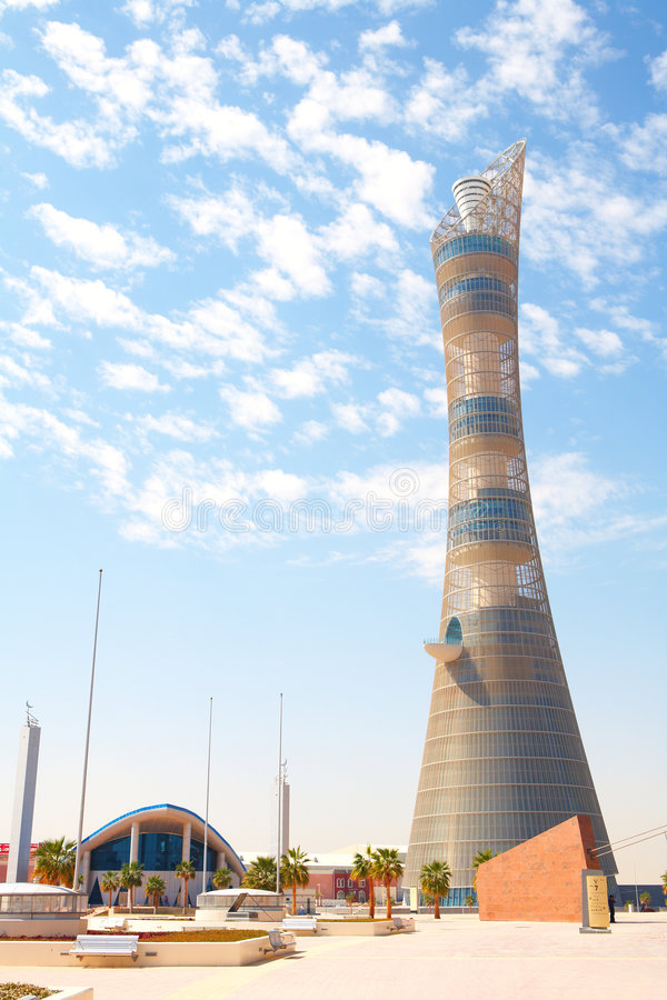 Äußeres Khalifa Stadion lizenzfreies stockbild