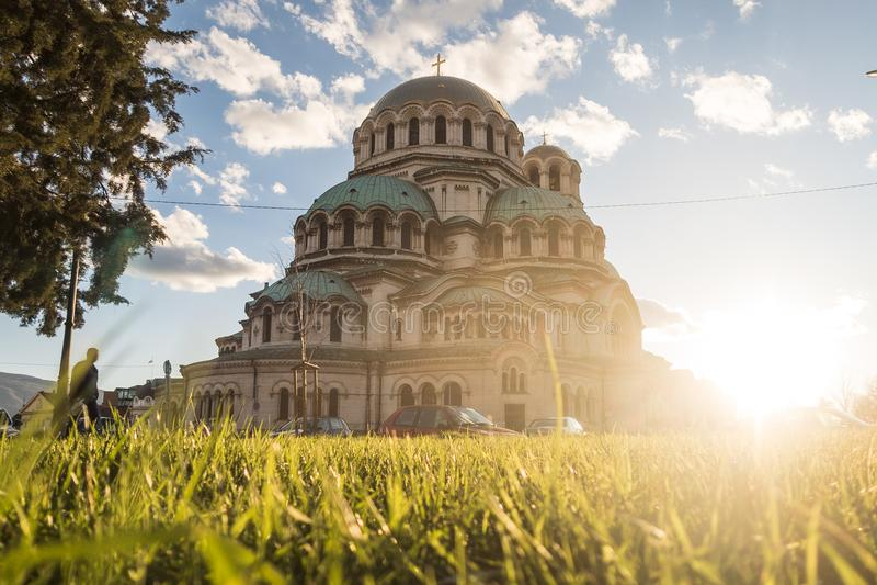 Äußeres von Alexander Nevsky Cathedral in Sofia lizenzfreie stockfotografie