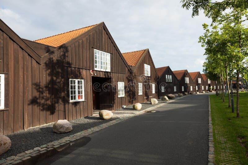 Äußeres von hölzernen Reihenhäusern in Kopenhagen lizenzfreie stockbilder