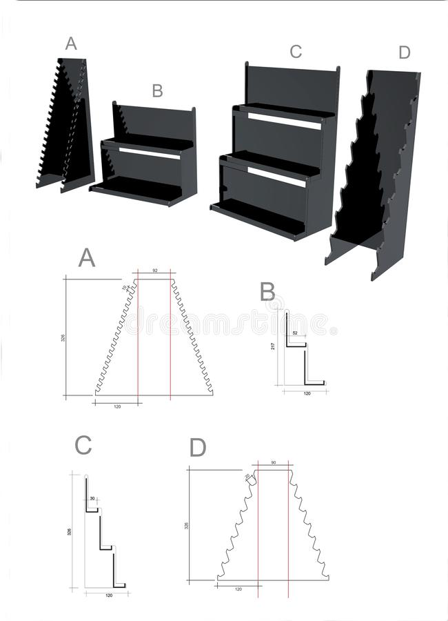 Äußeres von Konferenzstandfahnen oder von Modellgrafikdesignsockeln vektor abbildung