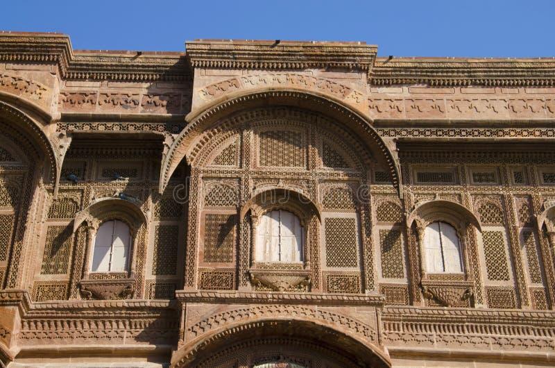 Äußeres von Mehrangarh oder von Mehran Fort, Jodhpur, Rajasthan, Indien lizenzfreie stockfotos