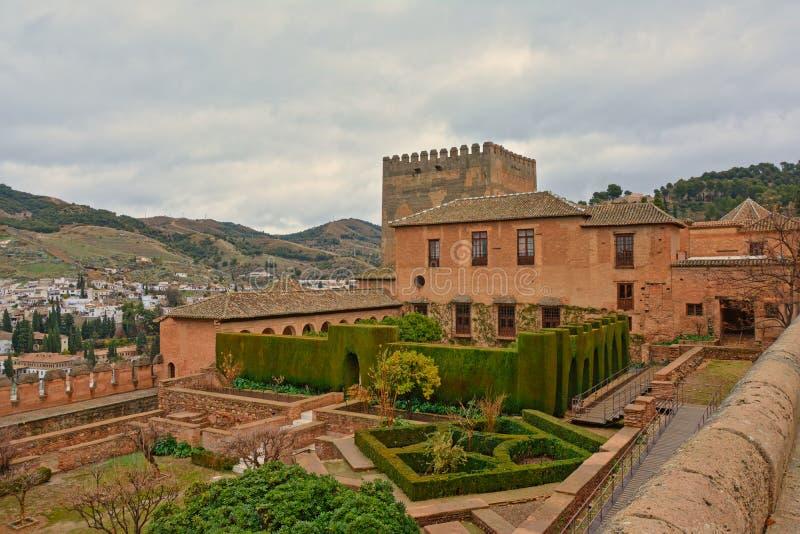 Äußeres von Nasrid-Palast in Alhambra-Schloss, Granada stockbild