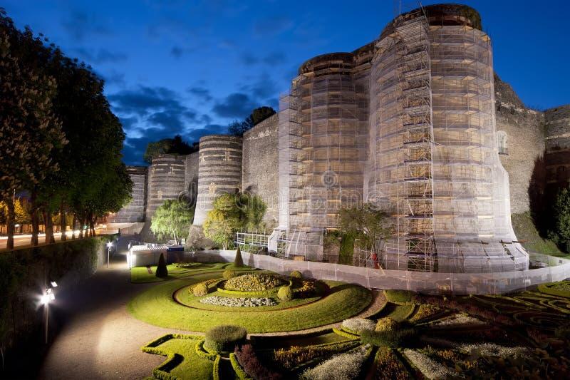 Äußeres von verärgert Schloss nachts, verärgert Stadt lizenzfreies stockbild