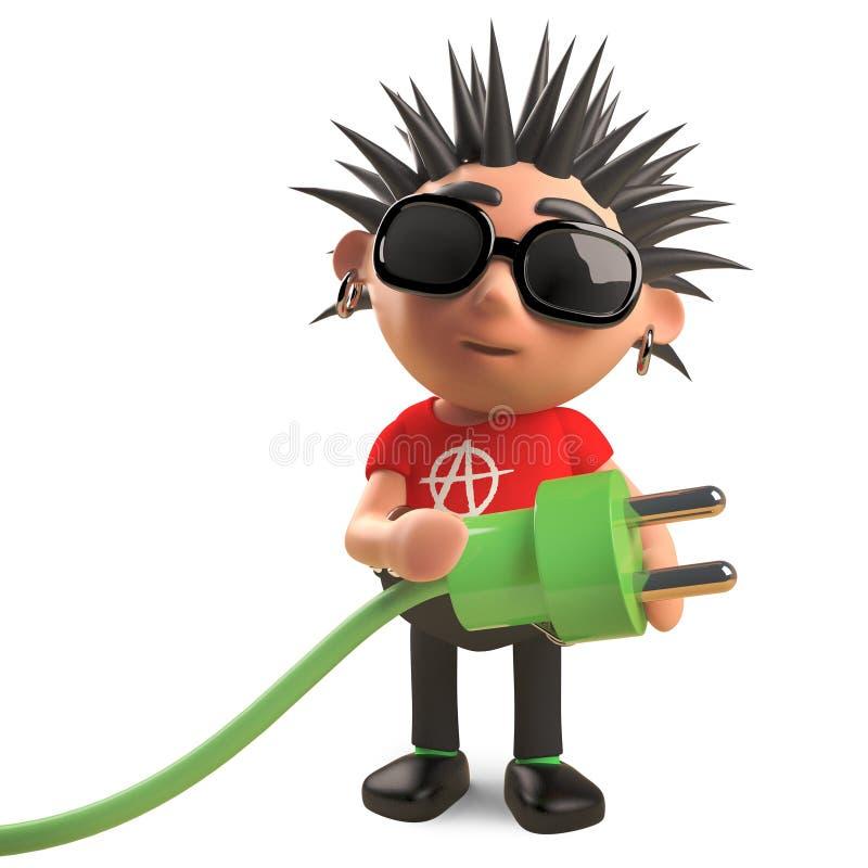 Även önskar den ilskna punkaren att använda grön energi, illustrationen 3d vektor illustrationer