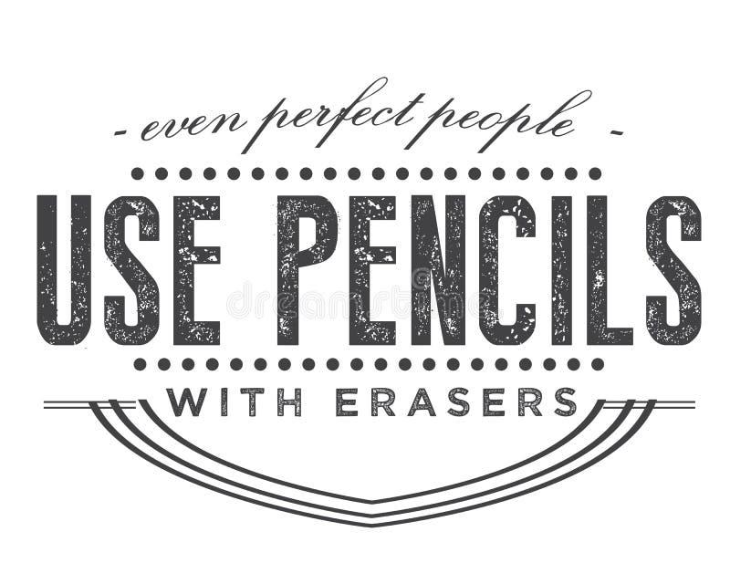 Även använder det perfekta folket blyertspennor med radergummin royaltyfri illustrationer