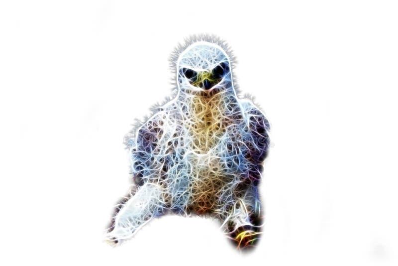 Även har den unga fågeln av rovet att hota blick Datorfantasi vektor illustrationer