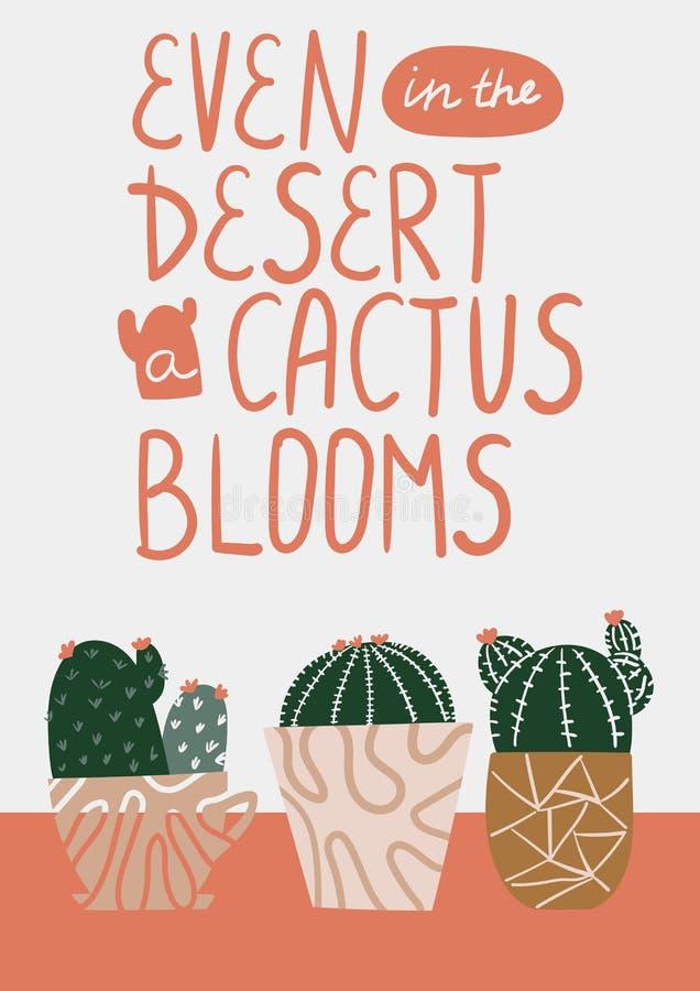 Även i öknen blom för en kaktus Vykort med suckulenten Kaktusvykort Suckulent bokstäver Plan vektorillustration stock illustrationer