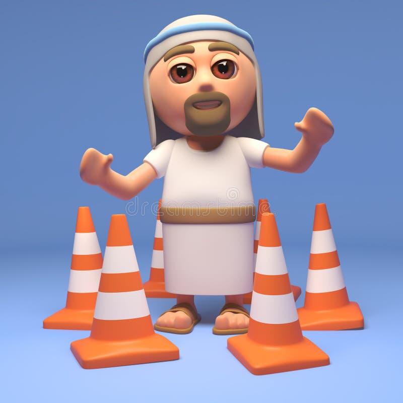 Även kan trafikkottar inte stoppa Jesus Christ, illustrationen 3d vektor illustrationer
