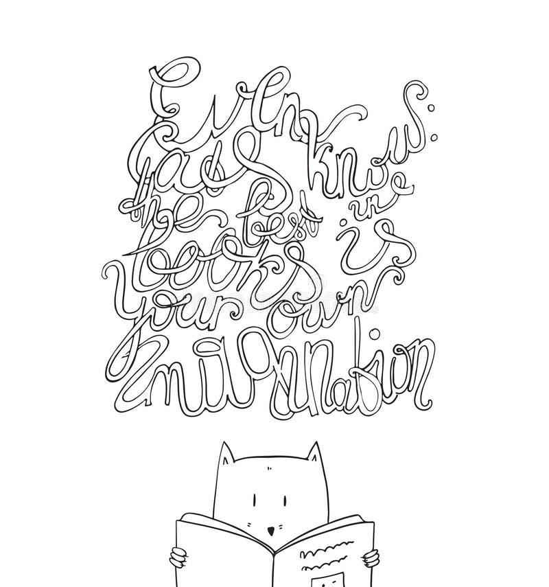 Även katter vet att det bästa i böcker är din egen fantasi vektor illustrationer