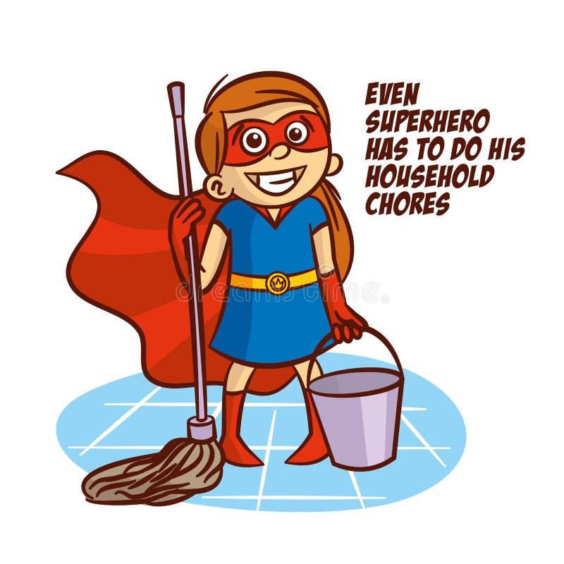 Även superheroen måste göra hans hushållsysslor stock illustrationer