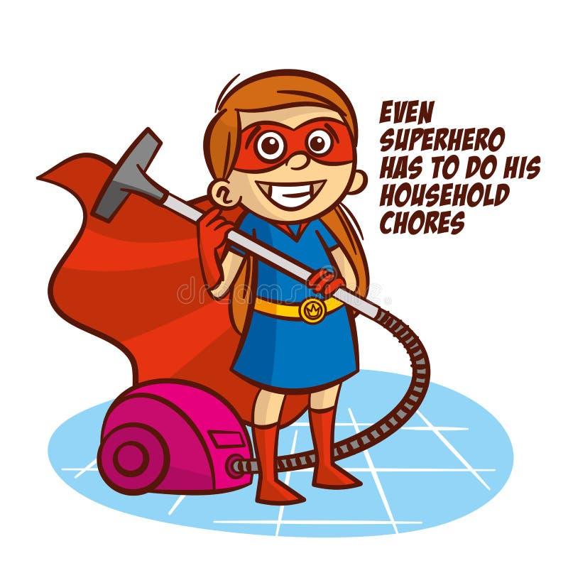 Även superheroen måste göra hans hushållsysslor vektor illustrationer
