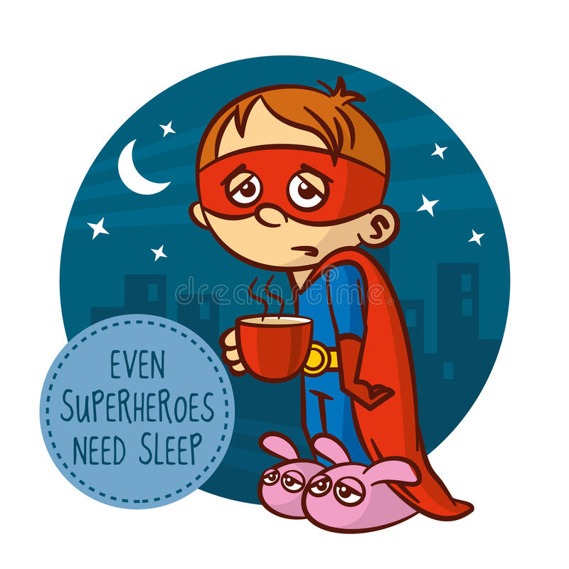 Även superheroes behöver sömn vektor illustrationer