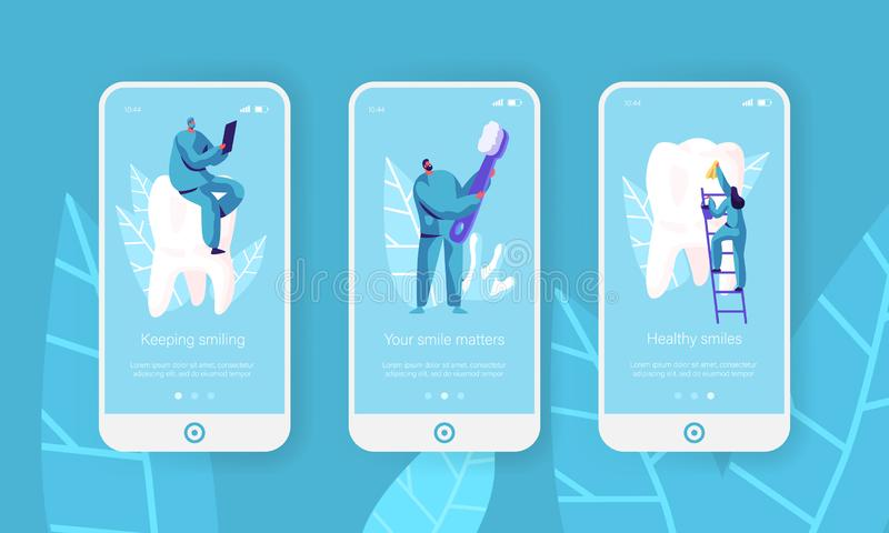 健康牙清洗屏幕集合的牙刷流动应用程序页 牙医做预防,漂白医疗保健的牙膏 皇族释放例证