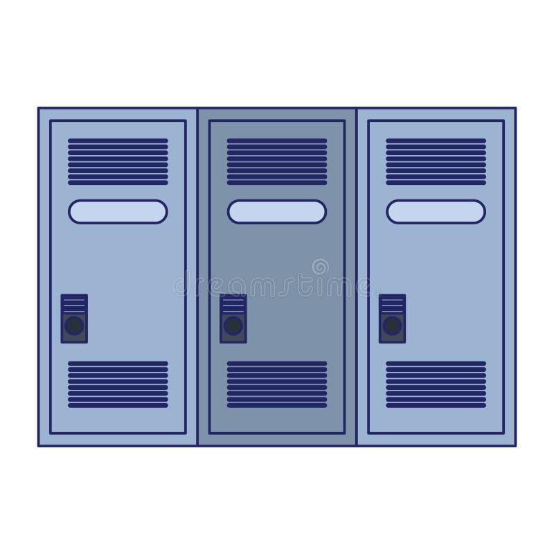 健身房衣物柜存贮被隔绝的蓝线 皇族释放例证