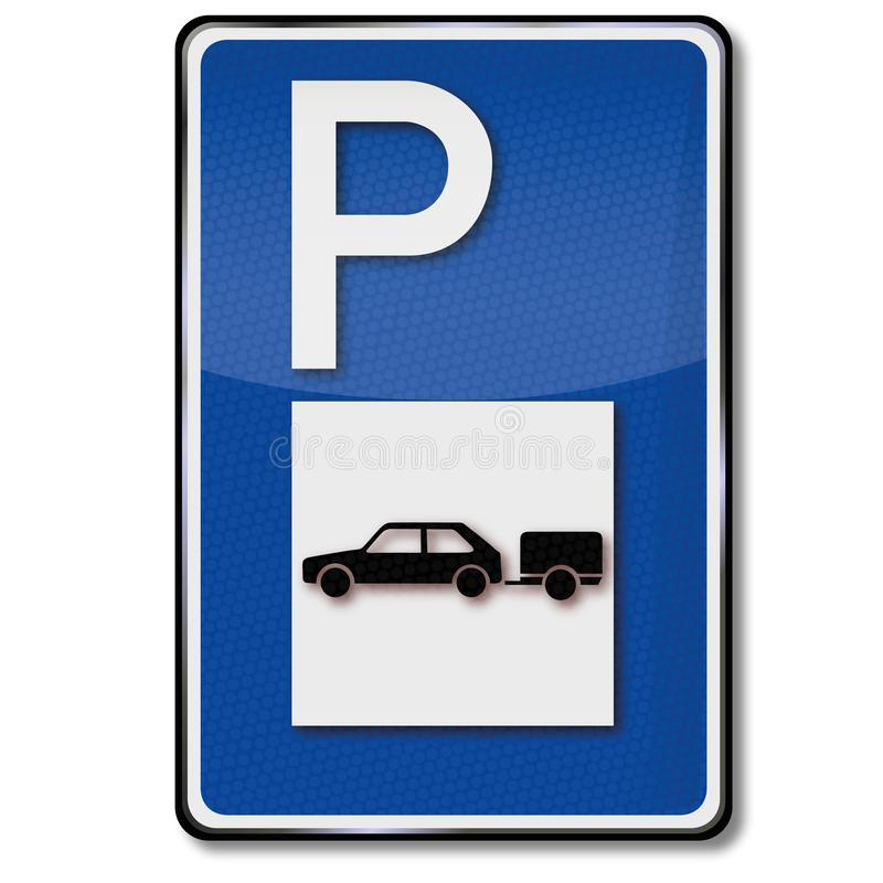 停放为有拖车的汽车的蓝色盾 库存例证