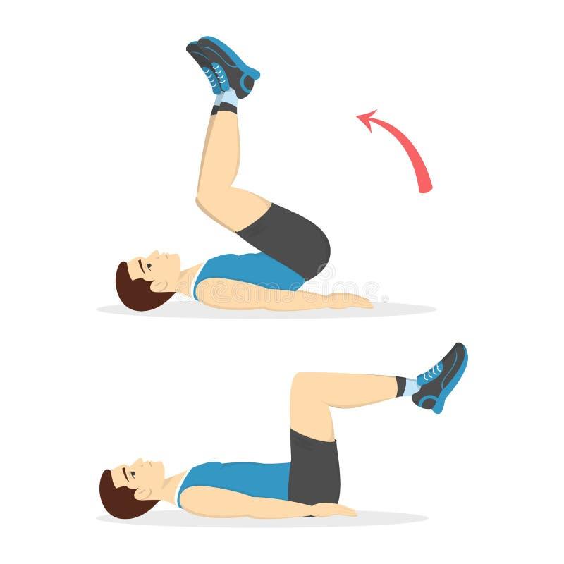 做在健身房的人咬嚼 腹部烧伤 库存例证