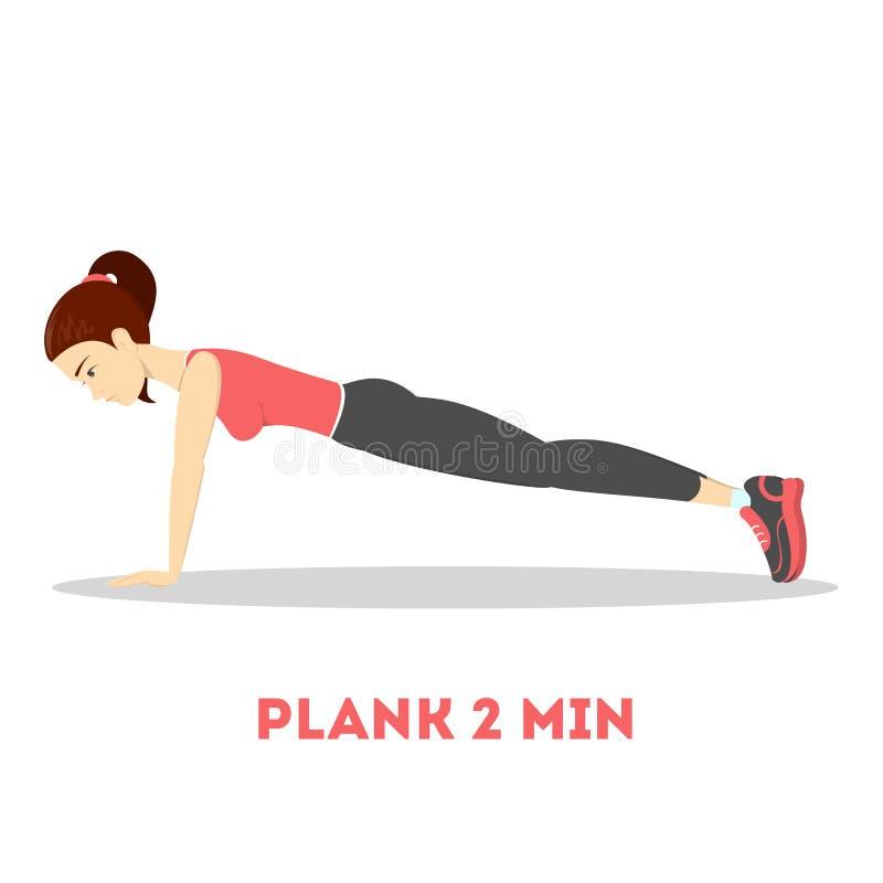 做在健身房的妇女板条 腹部烧伤 向量例证