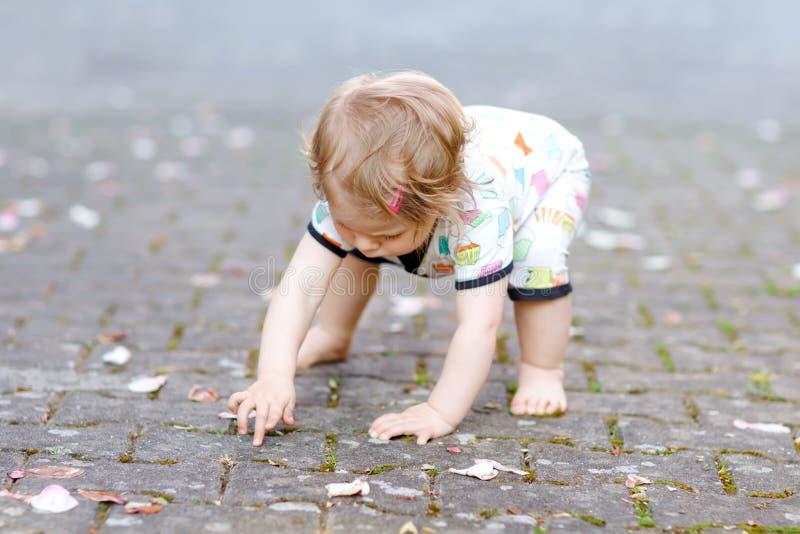 做逗人喜爱的可爱的女婴第一步户外 学会走的健康愉快的小孩孩子 可爱女孩享用 免版税库存照片