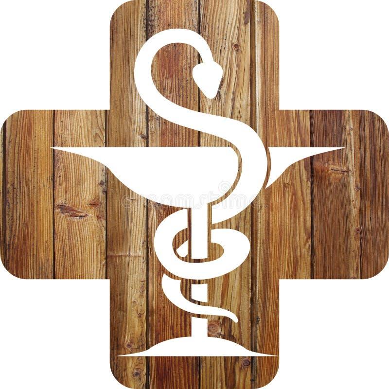 十字架和药房众神使者的手杖 皇族释放例证