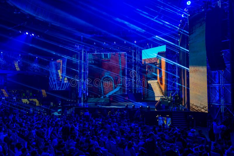 卡托维兹,波兰- 2019年3月3日:英特尔极端大师2019年-在行军3日的电子体育世界杯2019年在卡托维兹,西里西亚, 库存照片