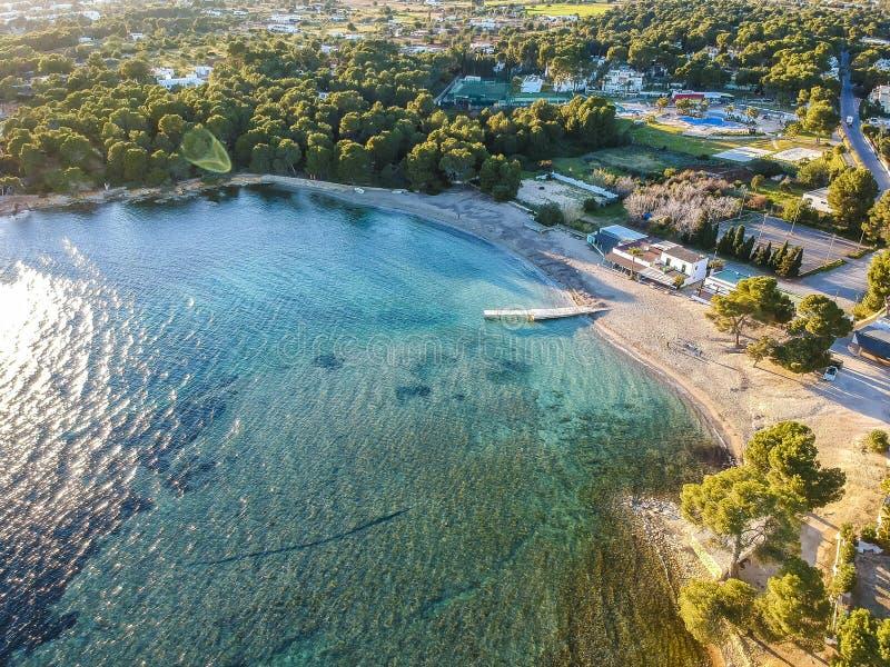 卡拉市Pada海滩,伊维萨岛西班牙 库存照片