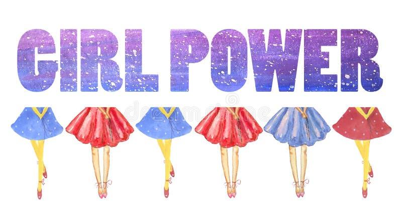 卡片女孩力量 在豪华的蓝色和红色裙子的女孩的腿 库存例证