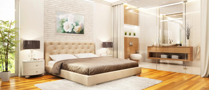 卧室室内设计 与卫生间结合的现代卧室 免版税图库摄影