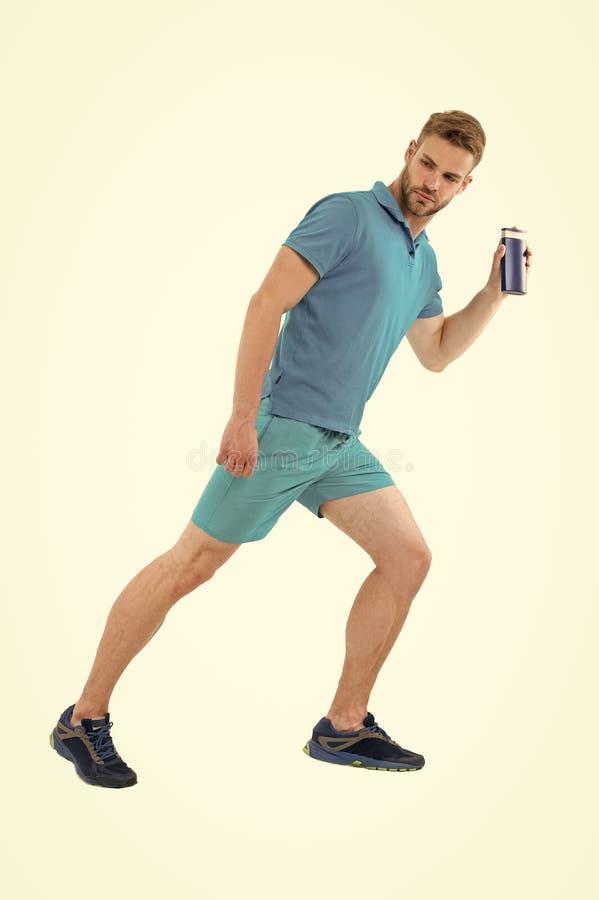 卫生学跑健康 供以人员运行与瓶的运动服阵雨胶凝体白色背景 普通游泳者知道 免版税库存图片