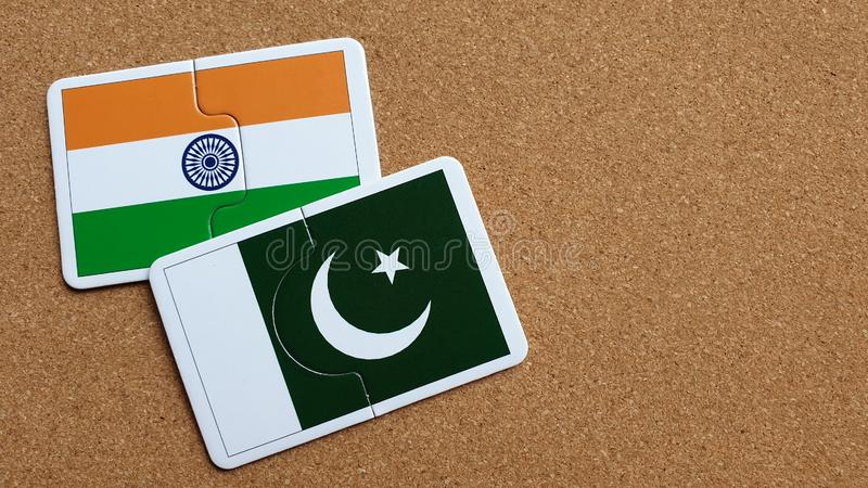 印度和巴基斯坦的旗子 免版税库存照片