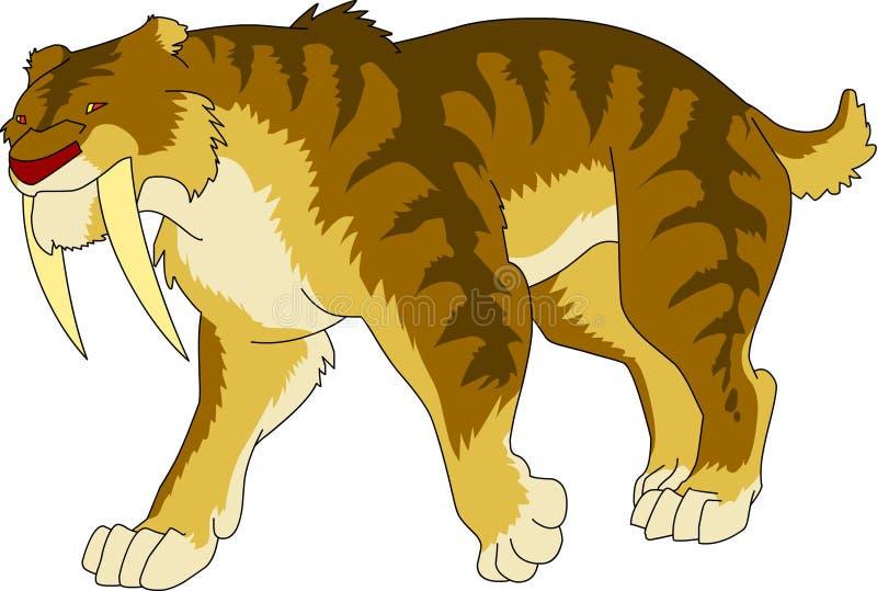 半动画片sabertooth老虎前历史的冰河时期 免版税库存图片