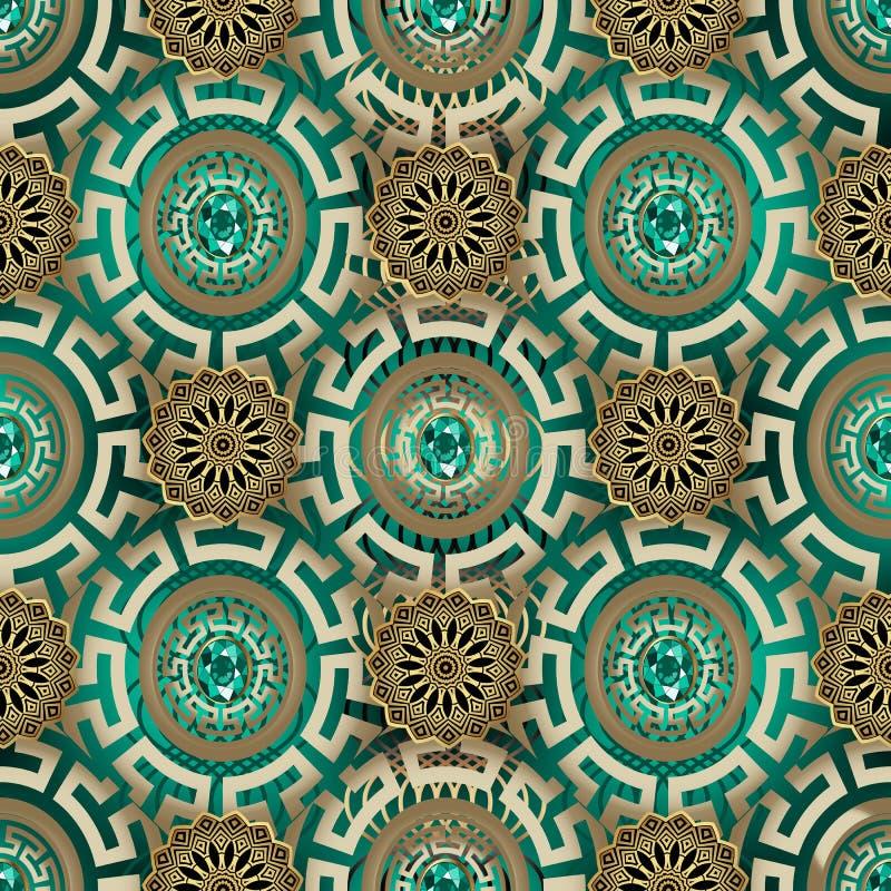 华丽希腊首饰传染媒介无缝的样式 装饰现代背景 重复被仿造的几何背景 美丽古老 库存例证