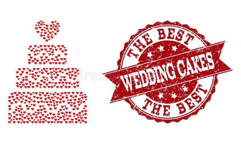 华伦泰婚姻蛋糕象和橡胶封印心脏拼贴画  向量例证