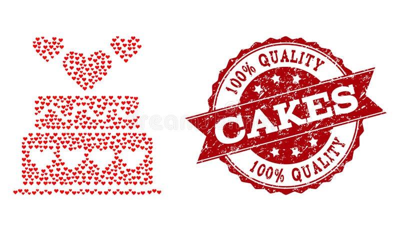 华伦泰心脏结构的婚姻蛋糕象和橡胶水印 库存例证