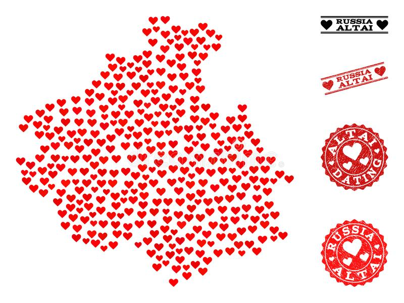 华伦泰阿尔泰共和国和难看的东西邮票拼贴画地图华伦泰的 库存例证