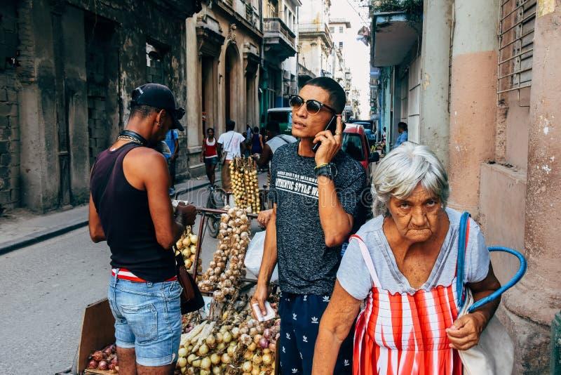 卖葱和大蒜的本机在哈瓦那,古巴 免版税库存照片