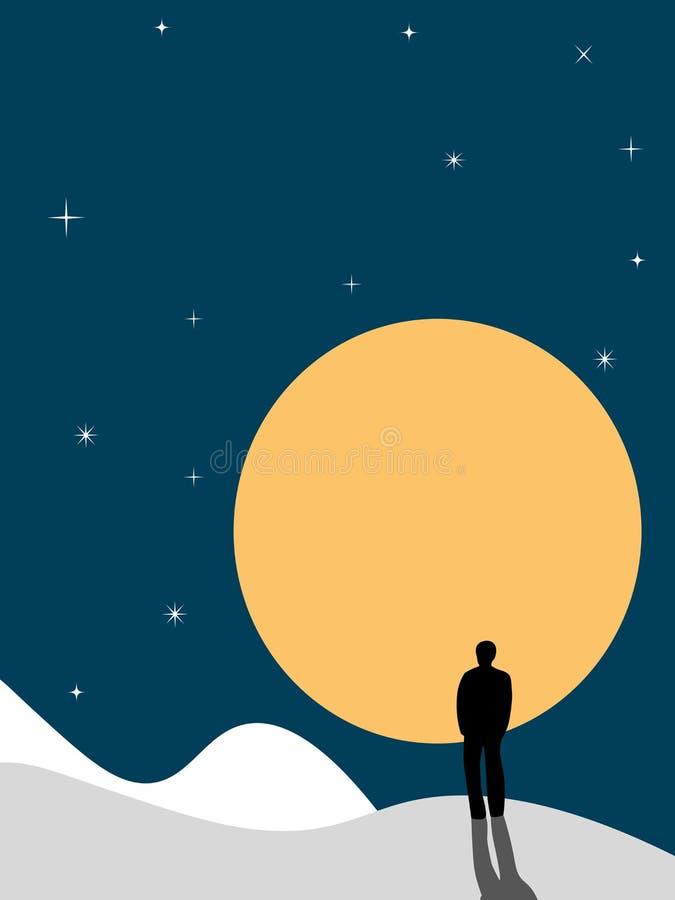 反对月亮的人 向量例证