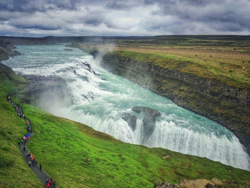 古佛斯瀑布在冰岛 库存照片