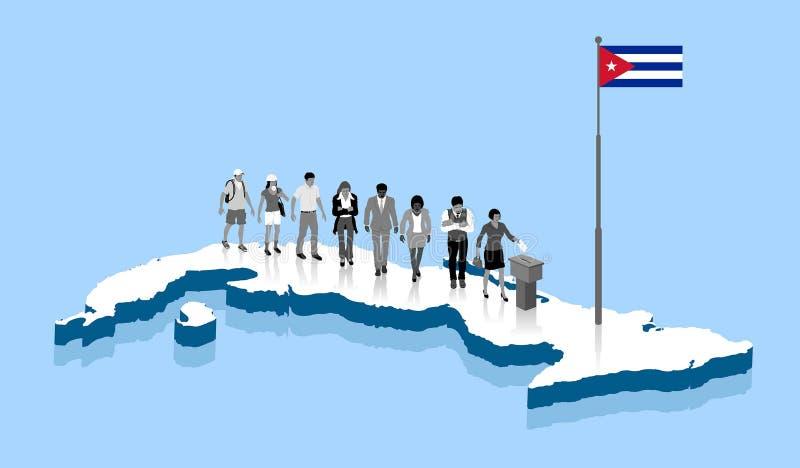 古巴公民在古巴地图的投票箱投票 库存例证